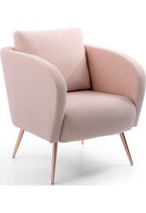 Poltrona Decorativa Sala De Estar Dama Pés Palito Rosê Algodão Rosa - Gran Belo