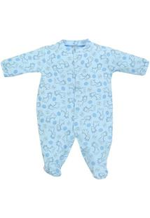 Macacão Pijama Longo Bebê Tilly Baby Girafinhas - Masculino-Azul Claro