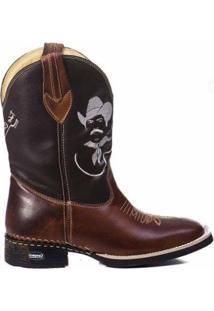 Bota Campero Texana Alta Tião Carreiro Couro Bico Quadrado Masculina - Masculino-Marrom