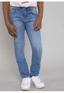 Calça Jeans Infantil Com Pérolas E Strass Azul Claro