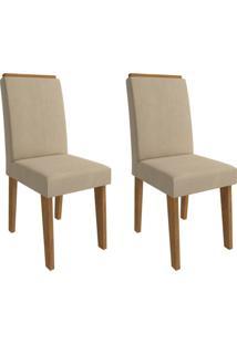 Conjunto Com 2 Cadeiras De Jantar Milena Suede Savana E Caramelo