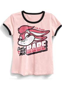 Camiseta Ringer Feminina Looney Tunes Not Your Babe - Feminino-Rosa