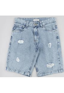 Bermuda Jeans Juvenil Com Rasgos Azul Claro