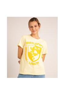 Camiseta De Algodão Hufflepuff Harry Potter Manga Curta Decote Redondo Amarela