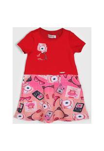 Vestido Carinhoso Infantil Estampado Vermelho