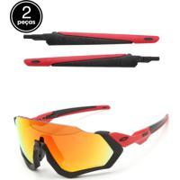 Dafiti. Óculos De Sol Oakley Flight Jacket Preto Vermelho 8b61c23110