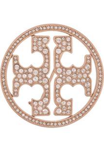 Tory Burch Broche Com Logo E Aplicação De Cristais - Rosa