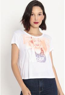 """Camiseta """"Follow The Music""""- Branca & Laranja- Coca-Coca-Cola"""