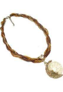 Colar Artestore Várias Voltas Com Pingente Pedra E Metal Feminino - Feminino-Dourado