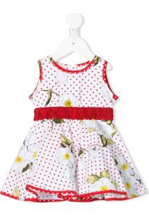 Monnalisa Vestido Com Estampa Floral E Poás - Branco