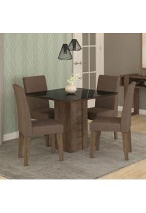 Conjunto De Mesa Rafaela 95X95Cm Com 4 Cadeiras Milena - Cimol - Marrocos / Preto / Chocolate