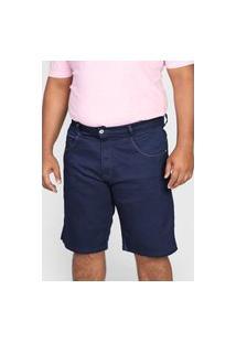 Bermuda Jeans Biotipo Reta Pespontos Azul