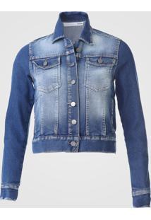 Jaqueta Jeans Malwee Estonada Azul