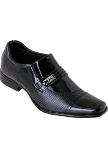 Sapato Social Preto Em Verniz Com Adereço