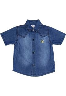Camisa Jeans Manga Curta Infantil Para Menino - Azul