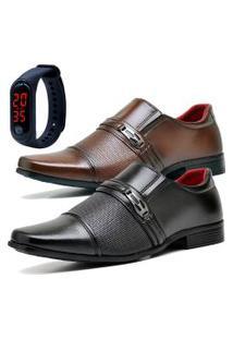 2 Pares Sapato Social Fashion Com Relógio Led Fine Dubuy 821El Preto