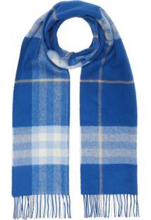 Burberry Cachecol Classic Check De Cashmere - Azul