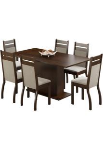 Conjunto De Mesa Com 6 Cadeiras Versalhes Suede Tabaco