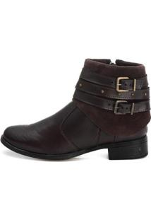 Bota Luxx Shoes Cano Curto Lisa Zíper Feminina - Feminino-Marrom Escuro