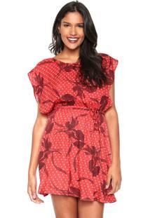 Vestido Hering Curto Estampado Vermelha/Vinho