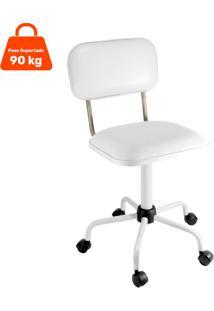Cadeira De Escritório Secretária Color Fixa Corano Prata E Branco
