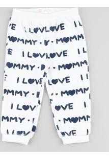 "Calça Infantil ""I Love Mommy And Daddy"" Em Plush Branca"