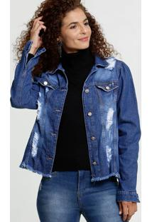 Jaqueta Feminina Jeans Destroyed Botões