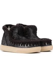 Mou Kids Glitter Detail Eskimo Sneakers - Preto