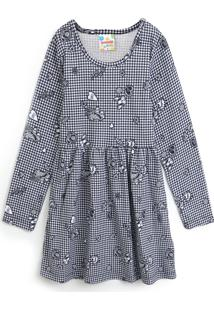 Vestido Brandili Infantil Estampado Cinza