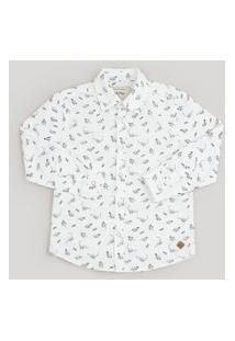 Camisa Infantil Estampada De Dinossauro Manga Longa Off White