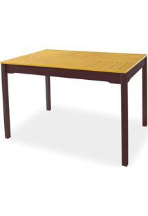 Mesa De Jantar Gourmet Compacta De Madeira Maciça Taeda Tabaco Com Tampo Colorido Olga - Verniz Tabaco/Amarelo 120X80X75Cm