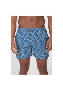 Bermuda Água Calvin Klein Jeans Reta Logo Azul/Cinza