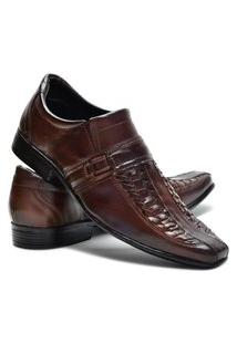 Sapato Social Masculino Em Couro Leoppe 1605 Marrom