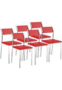 Cadeira 1709 Cromada 06 Unidades Napa/Vermelho Real Carraro