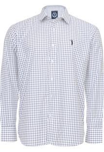 Camisa Aleatory Slim Quadriculada Branca