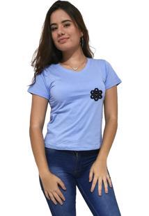 Camiseta Feminina Gola V Cellos Vertical Signature Premium Azul Claro