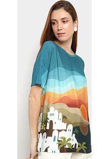 Camiseta Cantão Turismo Manga Curta Feminina - Feminino-Laranja