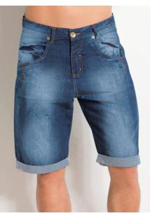 Bermuda Jeans Barra Dobrada