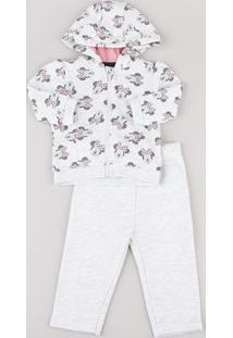 Conjunto Infantil Minnie De Blusão Estampado Com Capuz E Orelhas + Calça Em Moletom Felpado Cinza Mescla Claro