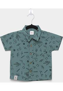 Camisa Infantil Elian Tricoline Estampado Masculina - Masculino-Verde Militar