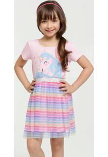 Vestido Infantil Estampa Unicórnio Manga Curta