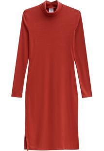 Vestido Lecimar Em Punho Listrado Outono Inverno Manga Longa Vermelho Médio