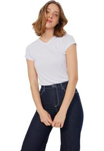 Amaro Feminino T-Shirt Basic Decote V Viscose, Branco