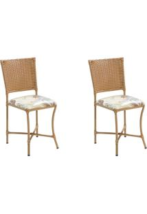 Conjunto Com 2 Cadeiras Lena Marrom Claro