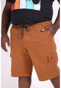 Bermuda Sarja Com Bolsos Plus Size Kauê Plus Size Masculina - Masculino-Caramelo