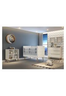 Dormitório Valentina Comoda 3 Gavetas Comoda Montessoriana Berço Lorena C/ Capitone Carolina Baby Branco