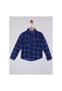 Camisa Flanela Xadrez Infantil Para Menino - Azul/Marinho