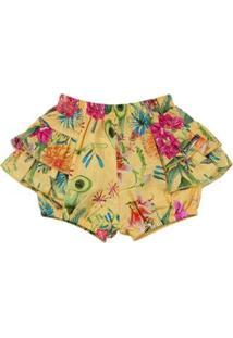 Shorts Bebê Dylan Estampa Digital Ano Zero Feminino - Feminino-Amarelo