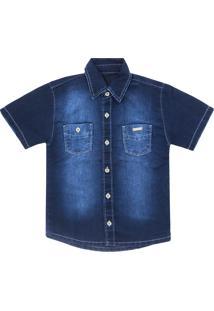 Camisa Look Jeans Clã¡Ssica Jeans - Azul - Menino - Algodã£O - Dafiti
