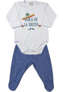 Pijama Bebê Ano Zero Cotton E Listrado Hora De La Siesta Masculino - Masculino-Azul